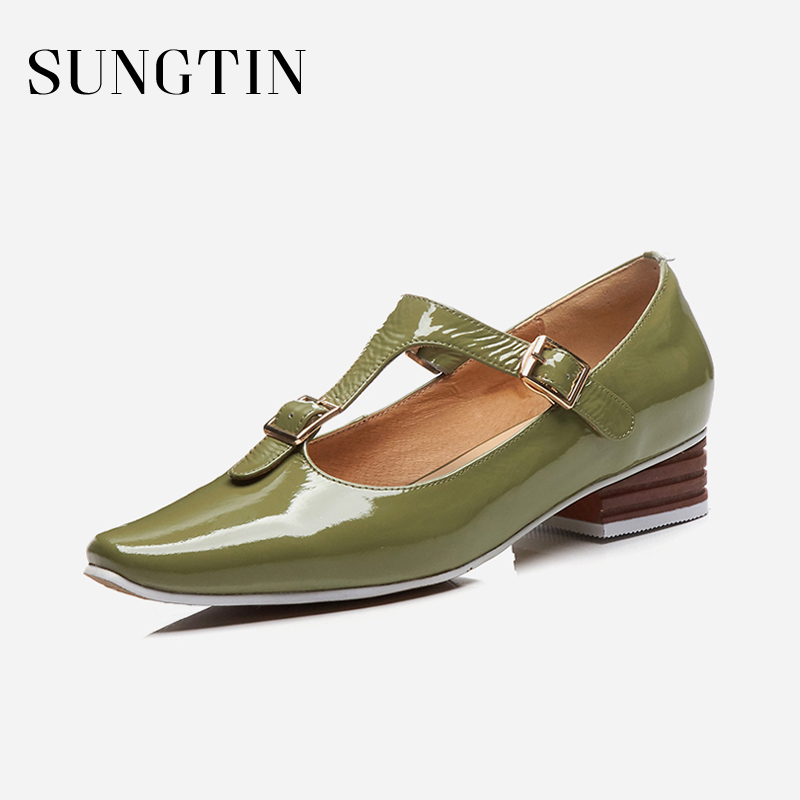 Sungtin 2018 New High Quality Genuine Leather Shoes Women Mary Janes Office Lady Elegant Buckle Strap Square Toe Flats Shoes women pumps mary janes med square heel round toe office career buckle strap lady shallow shoes rubber sole comfortable insole