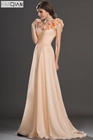 Freeshipping Nuevo Increíble de Un Hombro de Novia de Escote Piso-Longitud Gasa Vestido de Dama de honor