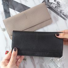 2020 new Ladies simple flat card holder wallet Genuine Cow Leather