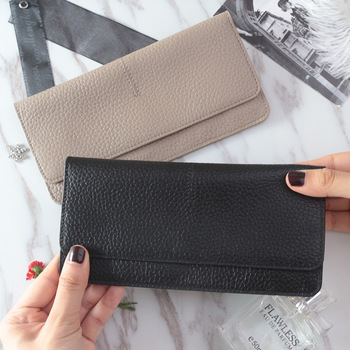 2020 new Ladies simple flat card holder wallet Genuine Cow Leather long for women Simple classic couple Wallet