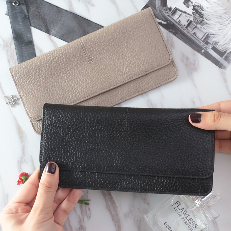 Ladies Simple Flat Card Holder Wallet Genuine Cow Leather Long Wallet For Women UBTY0003