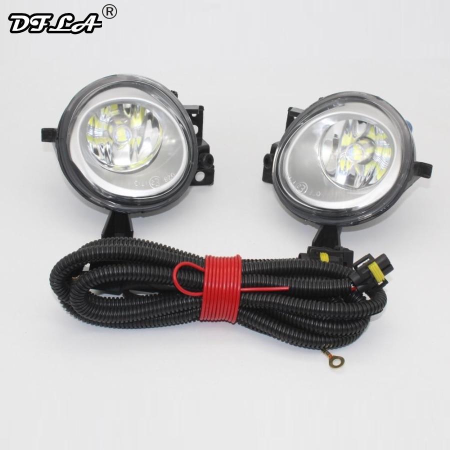 LED Car Light For VW Touareg 2003 2004 2005 2006 2007 2008 2009 2010 Front LED Fog Light Fog Lamp + Wire Harness Assembly