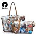 Realer 3-Sets Impresso Bolsa de Marca Mulheres Bolsa de Ombro Grande Tote Bag + Pequeno Saco Crossbody Couro PU de Alta Qualidade + Bolsa Da moeda