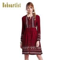 Bohoartist 2017 קיץ נשים שמלה אדומה שרוול ארוך הדפס פרחוני שמלה מזדמן מסיבת Boho V צוואר תחרה עד קצר כפתורי שמלות
