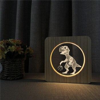 Dinosaure LED 3D nuit lampe enfants chambre décor bois acrylique bureau lumière couleur chaude USB veilleuse pour bébé noël cadeau livraison directe