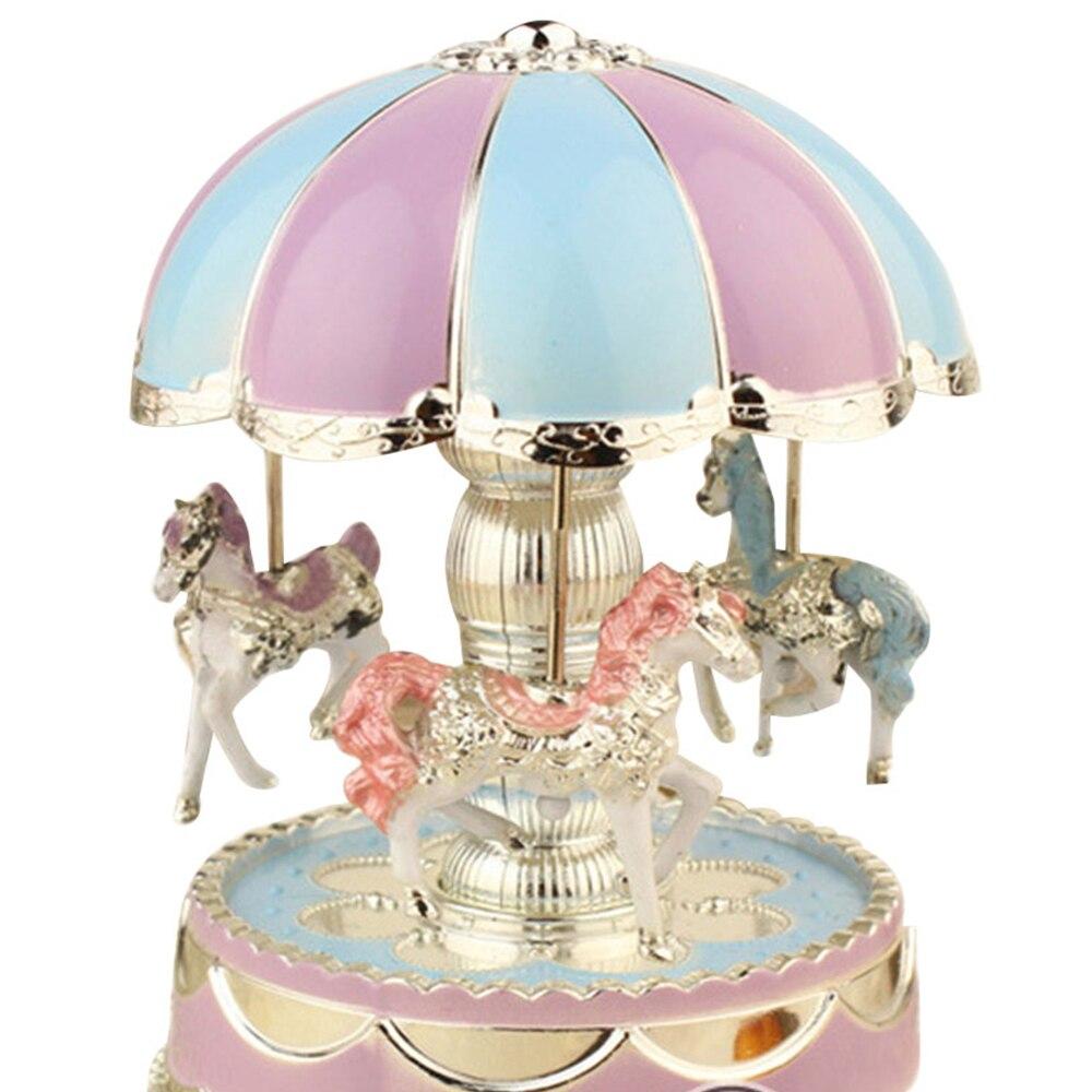 Светодиодный свет Изысканный Музыкальная шкатулка для музыкальная карусель Box Заводной на Рождество свадебная музыкальная шкатулка детские игрушки подарок на день рождения - Цвет: Blue