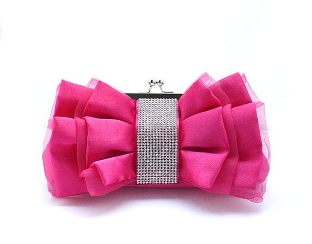 ab12e60a7 Hot Pink Chinese Women's Satin Rhinestone Handbag Clutch Party Wedding Evening  Bag Purse Makeup Bag Free Shipping 03883-E