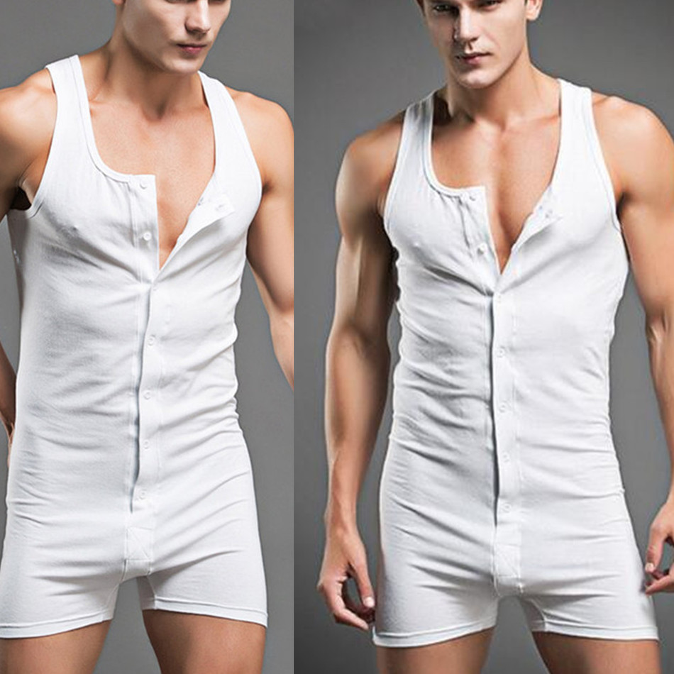 Pajamas Men's Slim Bodysuit Body Shaper Front Open Solid Color Sleeveless Man Gay Bodywear Bodybuilding Underwear Man Slimming