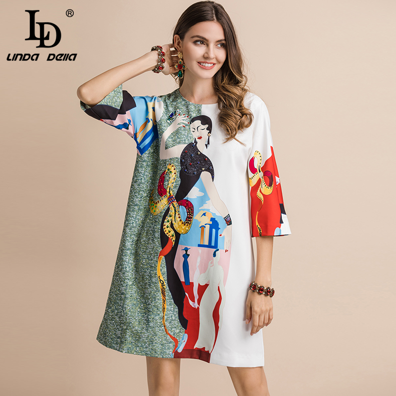 LD LINDA DELLA 2019 Fashion Runway Summer Casual Dress Women's 4/3 Sleeve Sequined Beading Character Printed Loose Mini Dresses