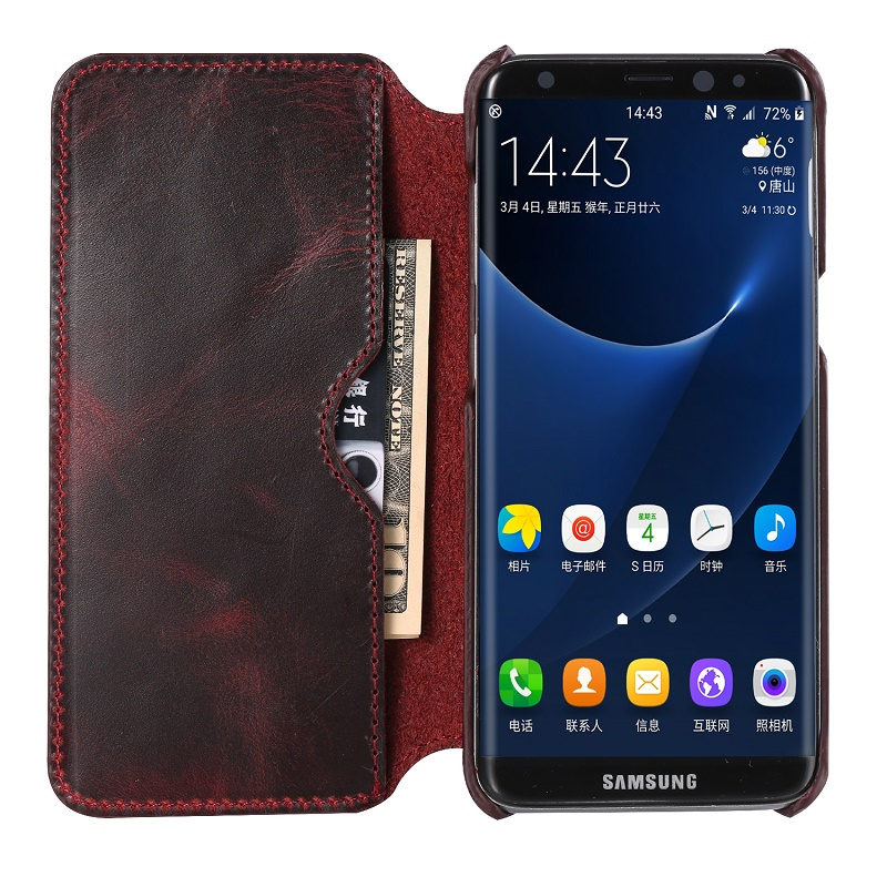 Wine red real leather case for samsung galaxy s8 genuine leather cover