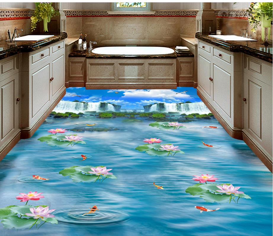 Blue Sky Waterfall Lotus Carp Kitchen Bathroom Walkway 3D Floor Pvc Self  Adhesive Wallpaper Home Decoration In Wallpapers From Home Improvement On  ...