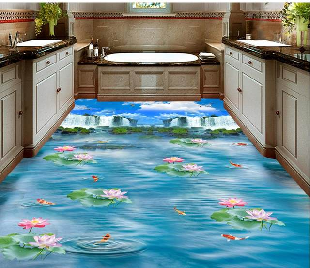 Wonderful Blue Sky Waterfall Lotus Carp Kitchen Bathroom Walkway 3D Floor Pvc  Self Adhesive Wallpaper Home Decoration
