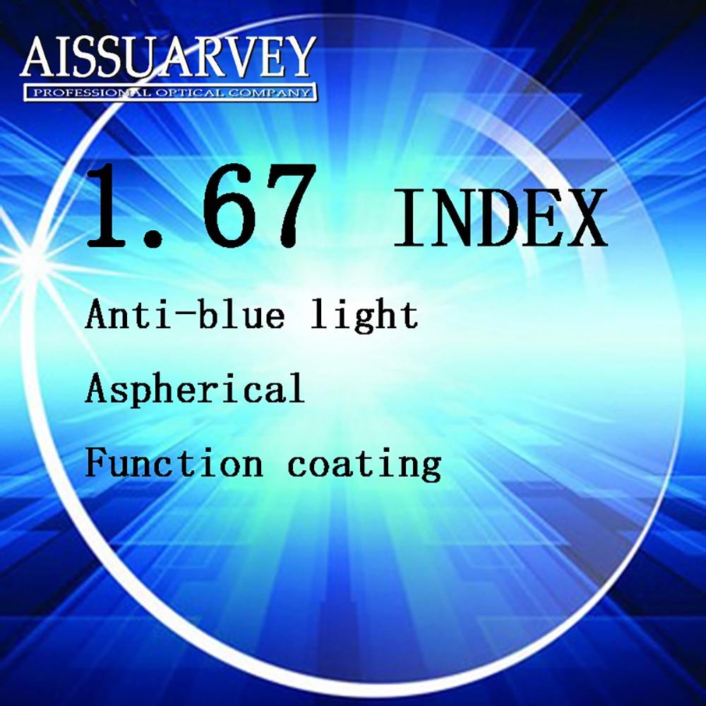 1.67 indice Anti-blue Ray lentilles optiques asphériques ordinateur professionnel lentilles myopie lecture claire Top qualité mince lentille CR39
