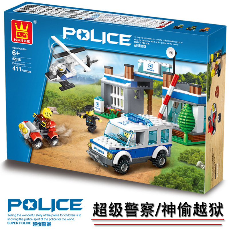 Model building kits compatible with lego city forest-police 3D blocks Educational model building toys hobbies for children
