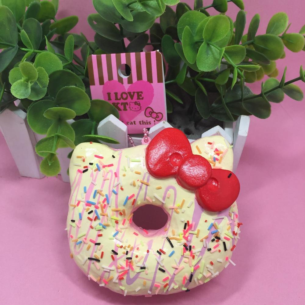 1PC 10CM eredeti csomag Hello Kitty Squishy játékok Ritka Jumbo fánk varázslat Aranyos Squishies nagykereskedelmi élelmiszer zsemle szimulációs élelmiszer