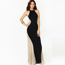 Summer Dress Plus Size Robe Sexy Women Sleeveless Patchwork Sheath O-neck Dress Package Hip Slim Color Casual Vestidos