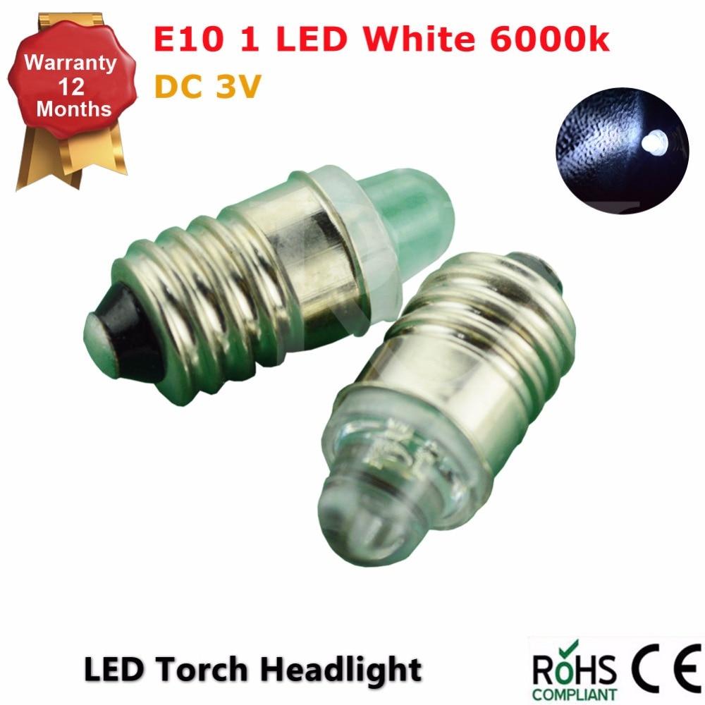 2x Free Shipping pure white E10 screw base LED torch headlight flashlight bulb 3V