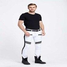 2016 байкер мужчины белые брюки мотоцикла Моды раза упругие ноги джинсы человек Молнии карманы для мужские джинсы