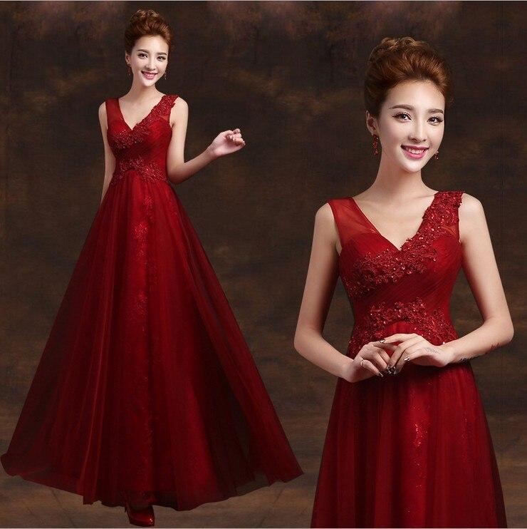 2019 elegant long beautiful v neck formal mother of the bride dubai kaftan red wine a line evening dresses TK1211