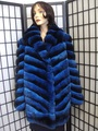 BLUE CHINCHILLA FUR JACKET COAT WOMEN WOMAN CUSTOM MADE wan