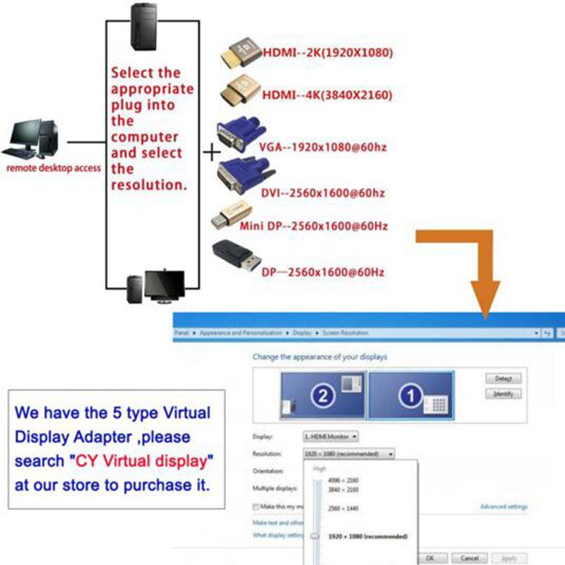 60Hz per Schermo LCD//TV convertitore Schermo virtuale HDMI Maschio//Femmina Bewinner Adattatore Display virtuale connettore Test simulato HDMI 1920 1080