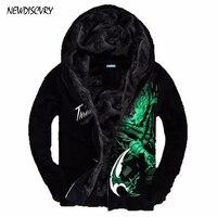 NEWDISCVRY Men 3D Printed Luminous LOL hoodies 2018 Winter Men's Hoody Sweatshirts Print fleece Thick Male Warm Black Coat