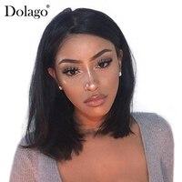 Короткий боб парик прямые Синтетические волосы на кружеве натуральные волосы парики для Для женщин 250% плотность бразильский Синтетические