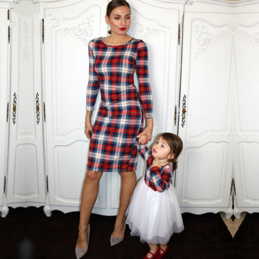 2018 New Mommy and me Family LookMom Girl Plaid Matching Dress Family Matching Outfits Mom Mother and Daughter Clothes Dresses mother daughter dresses family matching outfits lace plaid family look matching clothes mom and daughter dress drop shipping