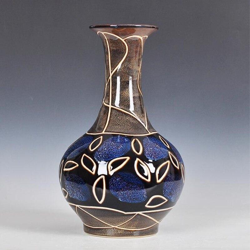 Antique Jingdezhen Vase en céramique coquille d'oeuf Vase accessoires de bureau artisanat neige Pot de fleur traditionnel Style chinois PorcelainVase