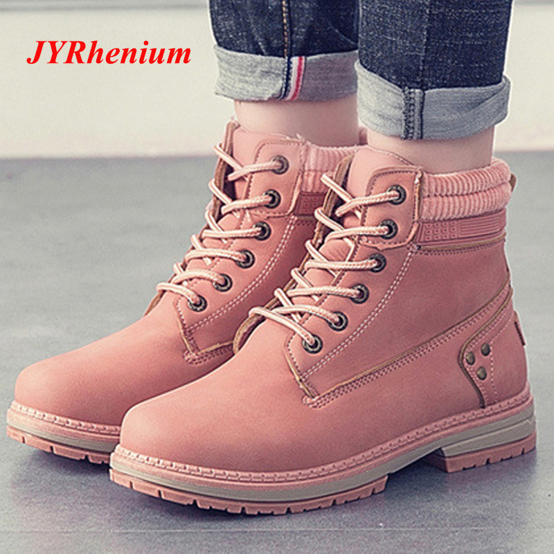 JYRhenium 2018 New Autumn Winter Plus Size 36-41 Warm Women Martin Ankle Boots Fashion Boots Women Low Heel Ankle Leather Boots plus size 34 43 new fashion autumn winter boots women classic zip ankle boots warm plush leather casual martin boots women shoes