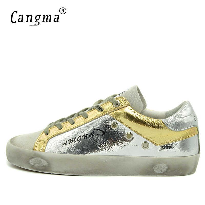 CANGMA Mens ออกแบบรองเท้าฤดูใบไม้ผลิฤดูใบไม้ร่วงรองเท้าสบายๆเงินแท้หนัง Suede ที่มีชื่อเสียงยี่ห้อรองเท้าผ้าใบรองเท้า