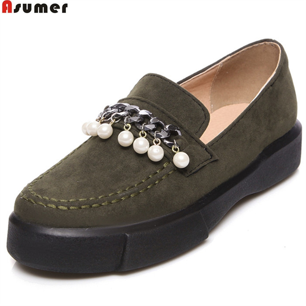 ASUMER black army green size 34-43 fashion spring autumn new flats shoes round toe casual flock single shoes women flat shoes memunia 2017 fashion flock spring autumn single shoes women flats shoes solid pointed toe college style big size 34 47