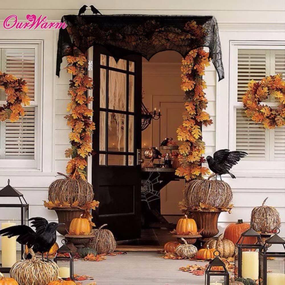 decoracin de halloween telaraa chimenea manto bufanda de encaje negro tela de araa para el hogar