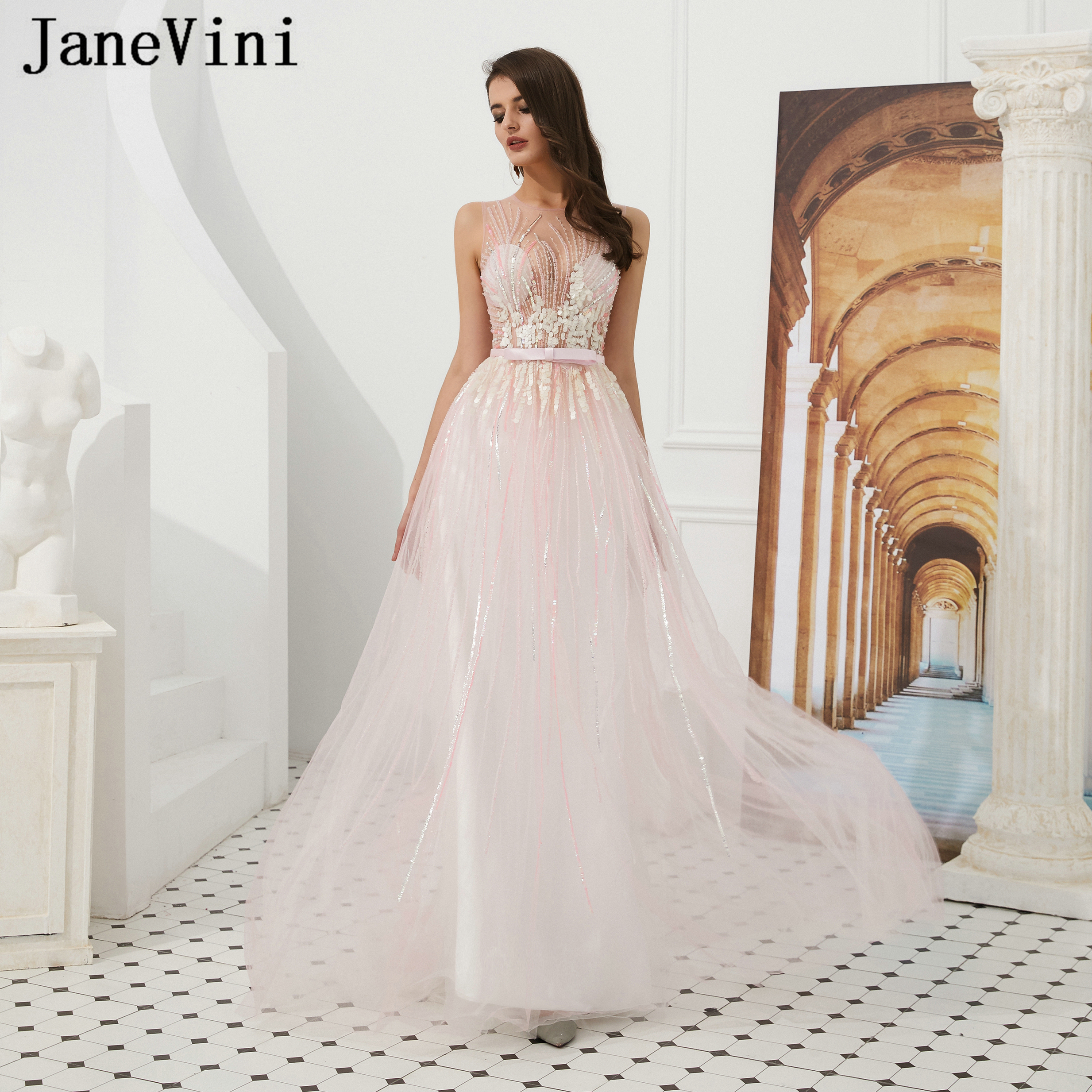 JaneVini Elegant A Line Light Pink Long   Prom     Dresses   2019 Sleeveless Sequins Beaded Illusion Back Tulle Women Formal Party Gowns