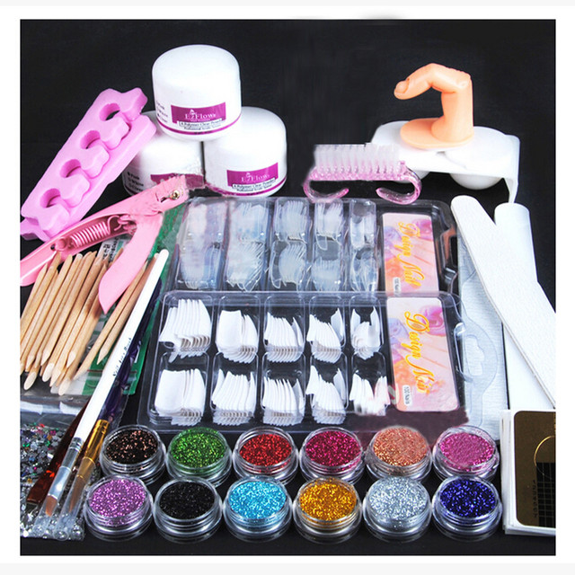 Acrylic Powder Glitter Nail Brush False Finger Pump Nail Art Tools Kit Set G6928