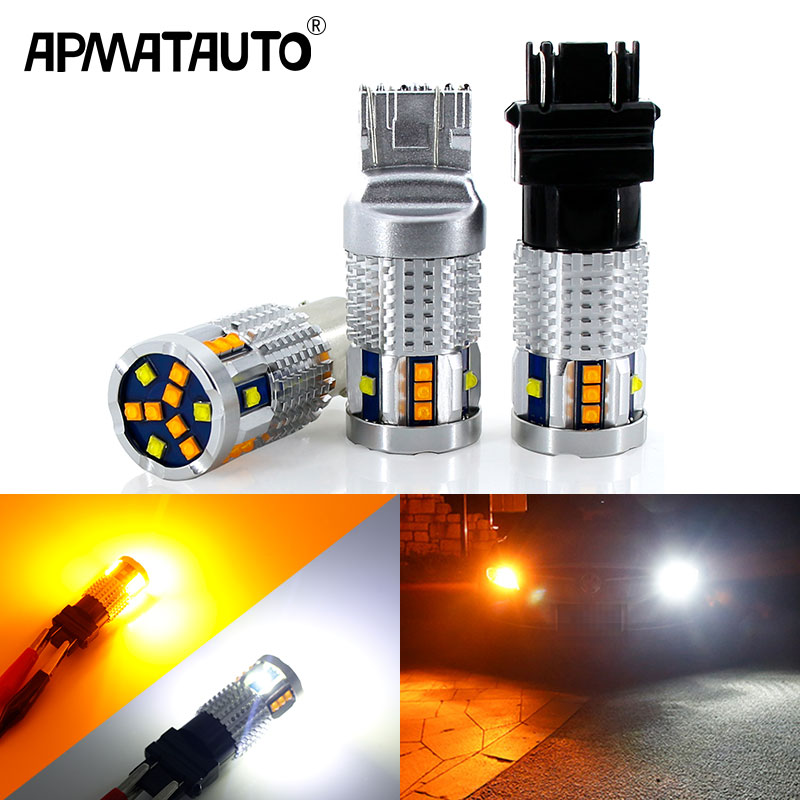 2Pcs Dual Color 1157 BAY15D P21/5W <font><b>Led</b></font> T20 7443 W21/5W <font><b>Led</b></font> Bulb <font><b>T25</b></font> 3157 P27/7W Car DRL Turn Signal Lamp Auto Lights Bulb 12V image