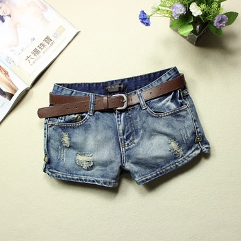 2016 jeans womens 100% cotton low waist blue bleached ripped washed summer denim shorts placketing hole soft posket jeans shorts leather