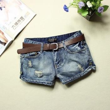 2019 spodenki jeansowe damskie letnie niskiej talii niebieski zgrywanie umyte 100% bawełna prosto kieszenie przycisk bielone dziura krótkie dżinsy 9259