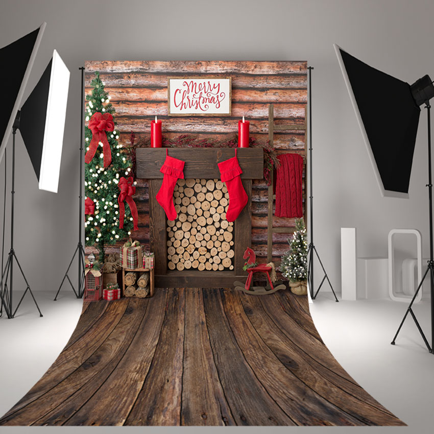MEHOFOTO Photography Backdrops Christmas backdrop Decoration Birthday Party Fotografia Photo Backgrounds Christmas fireplace mehofoto christmas tree backdrop fireplace photo background white brick wall photography backdrops for wood floor props 914