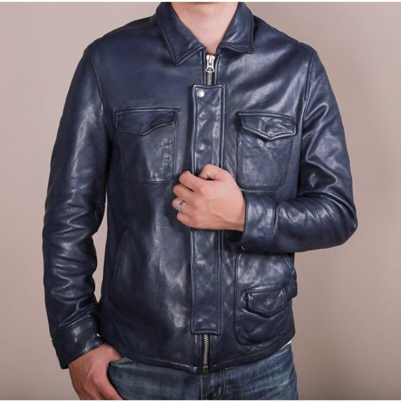 Harley Doppel Männer Mantel Taschen Russische Schaffell Jacke Plus Herbst Casual Größe Fit Leder Echtem 3xl Blau Zwetschge Blue Slim trqWHTnEt
