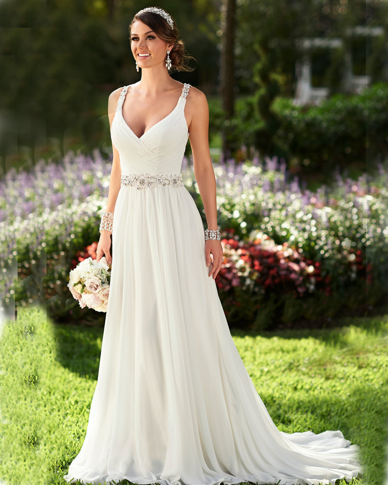 Summer Wedding Outfit Ideas: Summer Wedding Dress V Neck Ivory Chiffon Victorian Gothic