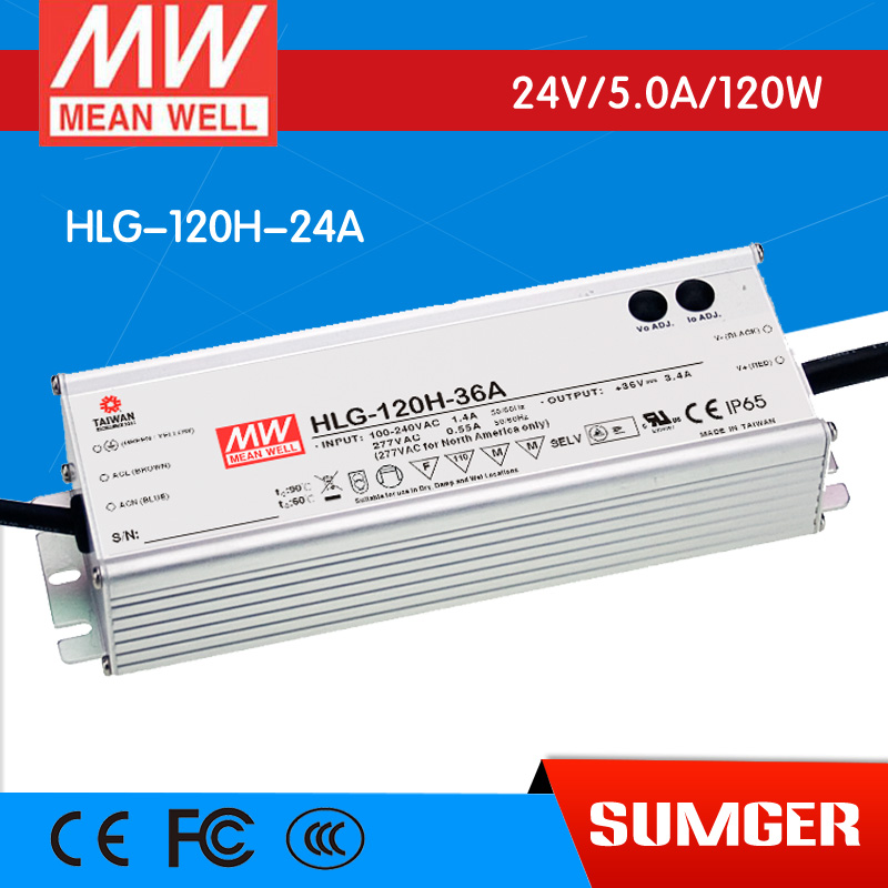 [NC-A] MEAN WELL original HLG-120H-24A 24V 5A meanwell HLG-120H 24V 120W Single Output LED Driver Power Supply A type 1mean well original hlg 120h 15d 15v 8a meanwell hlg 120h 15v 120w single output led driver power supply d type