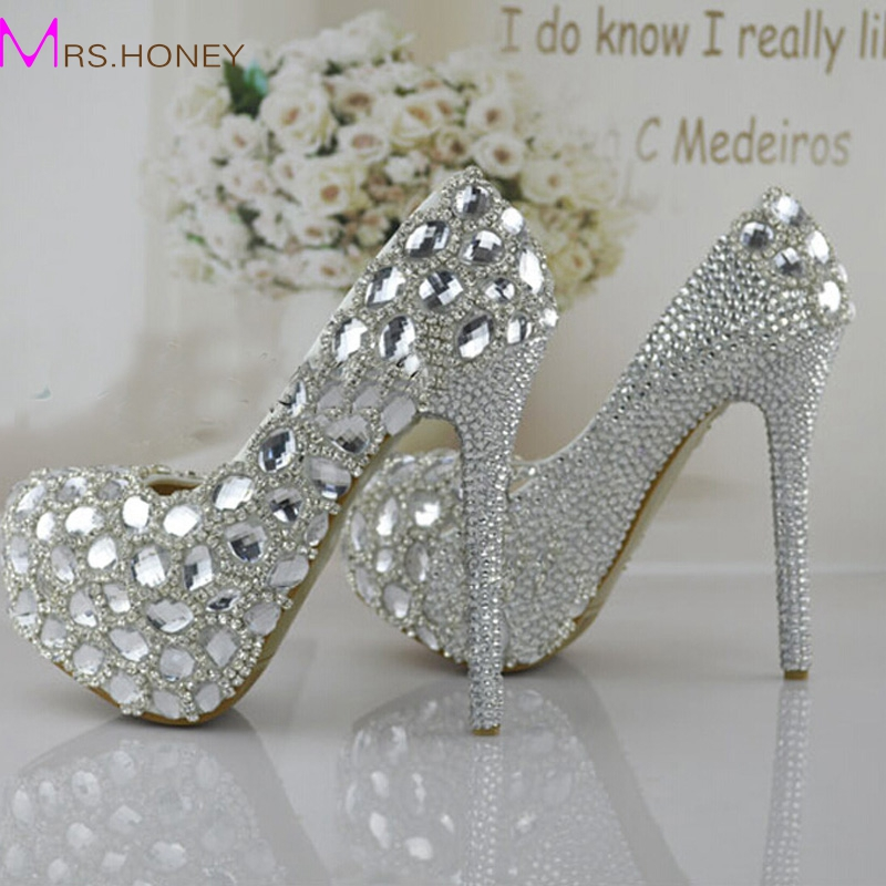 Silver Rhinestone Prom Party Shoes Women High-heeled Wedding Shoes The Bride Signle Shoes Pumps Size 34-43 Bridesmaids Shoes free shipping superior quality contactor cjx2 0910 9a ac 220v 3p no contactor cjx2 09 lc1 d09 series 220vac ac contactor