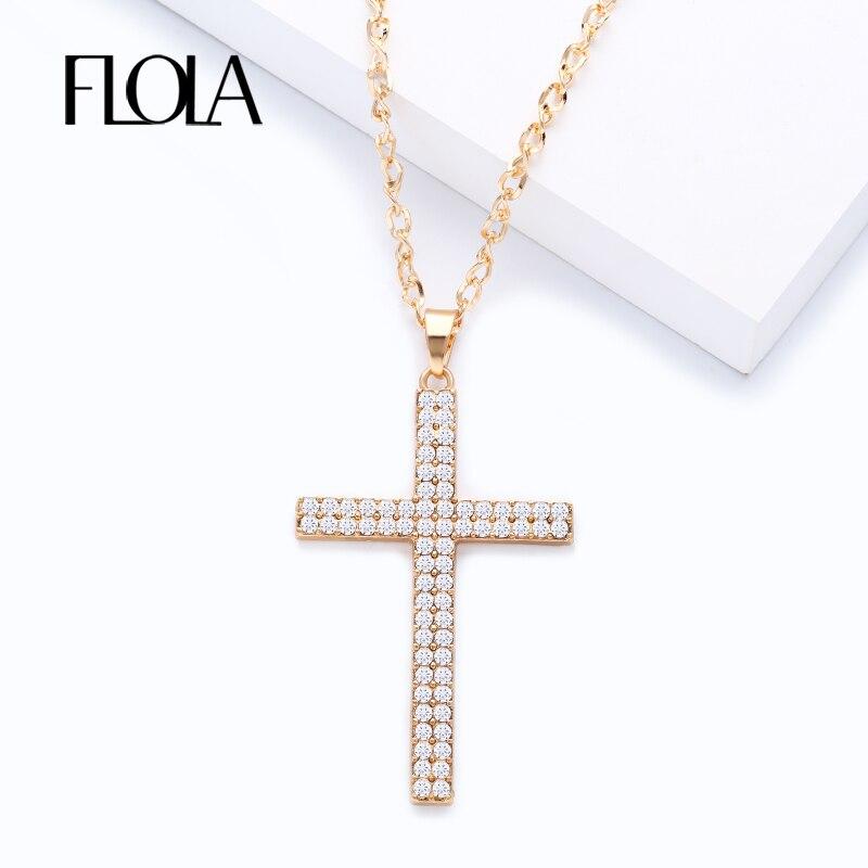 FLOLA-colliers avec pendentif et croix en or, pièce de jésus, collier avec grande croix, chaîne longue, pour femmes et hommes, bijoux à la mode, nkeg80