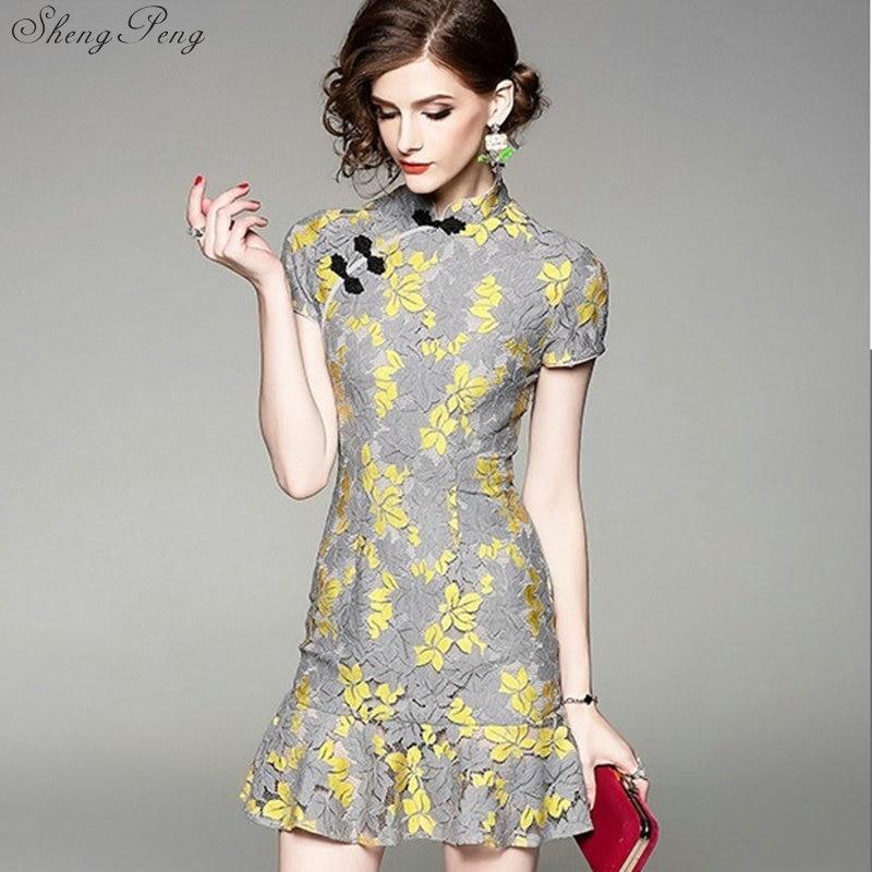 Chinois traditionnel robe femmes moderne cheongsam femme chinois robe qipao traditionnel chinois vêtements Q278
