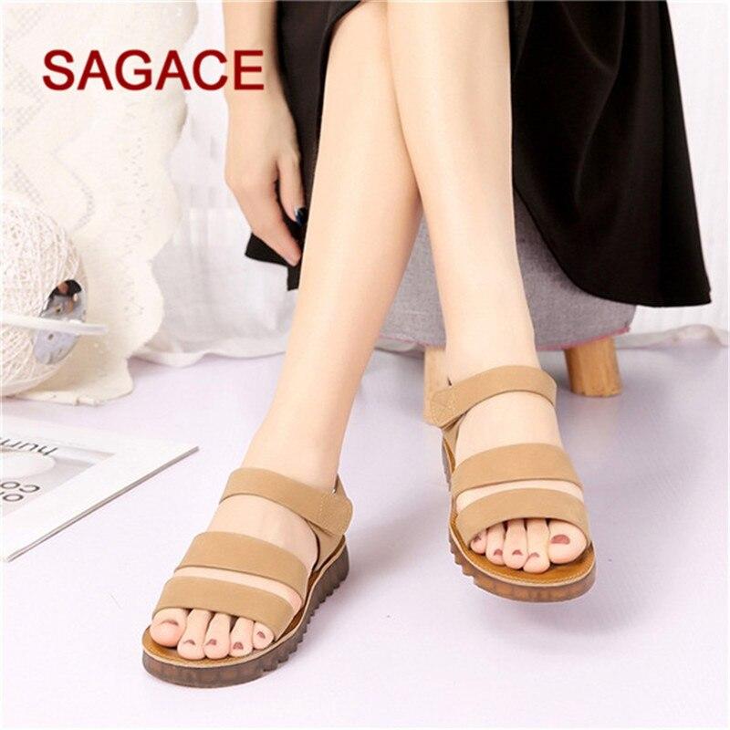 45ce49ed0db3e Plat Bout brown Sagace Sandalias Sandales 2019 Femmes Zapatos De Black D été  Rond Plage Mode Mujer EE67wgqn