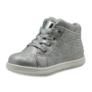 Image 2 - Apakowa marka yeni çocuk ayakkabı Pu deri çocuk ayakkabıları kızlar için bahar sonbahar kızlar ayakkabı ile kristal kemer desteği ayakkabı
