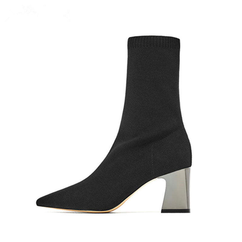 Women Ankle Boots Stretch Fabric Sock Boots Chunky High Heels Stretch Women Autumn Winter Sexy Booties Pointed Toe Women Pumps