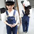New Arrival Boys & Girls Autumn Solid Denim Jumpsuits Kids Hemming Overalls Children Brand Jeans Pants Infantil ,