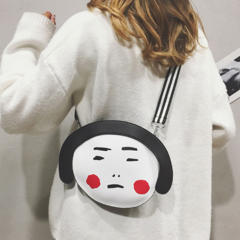 Petit Mini mignon tête forme personnalité Designer sac Zipper hip-hop doux femmes Messenger sacs drôle belle